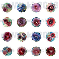 1 inch circles - Digital collage sheet - organza flowers - instant download