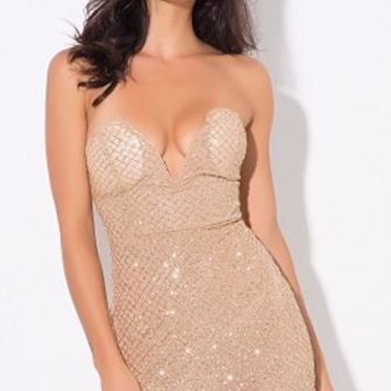 Diamond Girl Gold Glitter Geometric Lattice Strapless Plunge V Neck Bodycon Mini Dress