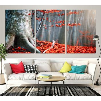 Big Tree and Forest Red Leave Large Wall Art Canvas Print