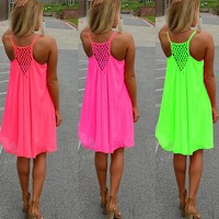 Sexy Women Sleeveless Summer Chiffon Evening Party Cocktail Mini Beach Dress = 1932170820