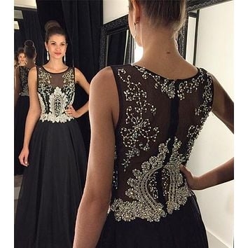 Black Prom Dress For Teens, Prom Dresses, Evening Gown, Graduation School Party Gown, Winter Formal Dress, DT0205