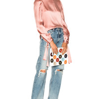 MSGM Hammered Satin Top in Pink   FWRD
