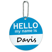 Davis Hello My Name Is Round ID Card Luggage Tag