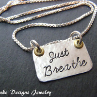 just breathe necklace hand stamped sterling silver
