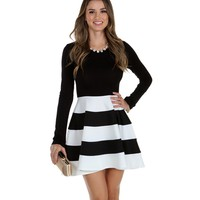 Sale-black & White Looking Good Skater Dress