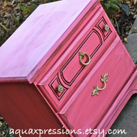 Vintage Nightstand /Pink /Glazed /Distressed Bedroom Furniture /Bright Side, End Table /Painted Tv Stand /Storage