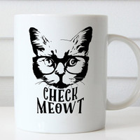 Check Meowt, Cat Mug, Funny Cat Mug, Cat Lovers Gift, Ceramic Cat Mug, Meow Mugs, Gifts for Cat Lovers, Cat Coffee Mug Cat Lover Gift, Meow