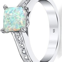 2 Carats Sterling Silver 925 White Fire Created Opal and Cubic Zirconia Engagement Ring Wedding Band