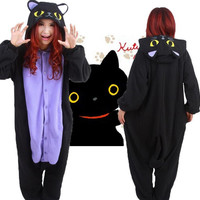 Adult Onesuit Fleece Sleepwear Cosplay Costume Pajamas Night Black Cat Halloween Kigurumi Unisex