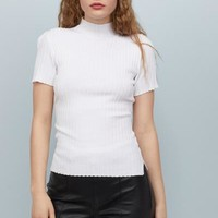Short-sleeved Turtleneck Top - White - | H&M US