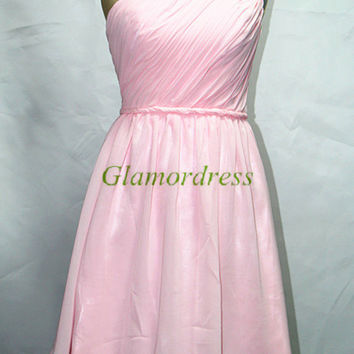 pink simple one shoulder bridesmaid dress knee length chiffon prom gowns cheap homecoming dresses bridesmaid dress