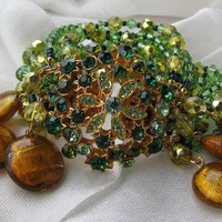 Statement BRACELET  CUFF Style In Greens Gold by katstreasureshop