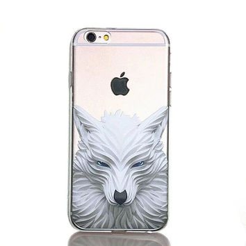 Cute White Wolf Animal Printed Soft TPU Phone Back Cover Case for Apple iPhone 5 5s SE 6 6s 6 Plus 6s Plus