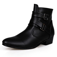 2016 Fashion Ankle Boots Men Suede Heel Genuine Leather Martin boots Waterproof Warm Point Toe Winter Boots Men Shoes High Heels