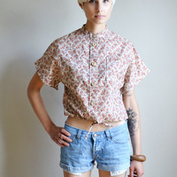 Vtg 70s floral paisley button up hippie shirt // brown cream  short sleeve DRAWSTRING banded print hippie boho boxy simple pocket blouse top
