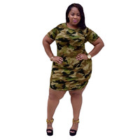 Women Dress Camouflage Print O Neck Mini Sexy Dress Short Sleeve Stretch Casual Plus Size Dress Army Green