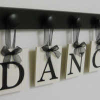 DANCE Art for Teenagers Room Sign - 5 Wood Knobs Painted Black Wall Letters DANCE