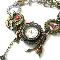 Watch Bracelet Steampunk Watch jewelry Fantasy Victorian cogs hands gears charms Swarovski crystal Light Rose and Rose Pink Ready To Ship