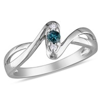 Blue and White Diamond Fashion Ring in Sterling Silver