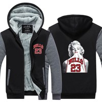2017 Winter New Arrival Thicken Jacket Marilyn Monroe Wearing Michael  Fleece Long sleeves Zipper Tops Plus size
