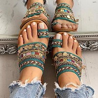 New summer handmade beaded sandals with metal decorative sequins all-match toe flat Roman shoes