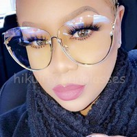 2017 Newest Clear Glasses Women Luxury Brand Transparent Gold Clear Eyeglasses Frame Rimless Pink Glasses Women Clear Shades