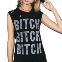 Hazmat Design Bitch Bitch Bitch Cutoff Boyfriend Tee Black