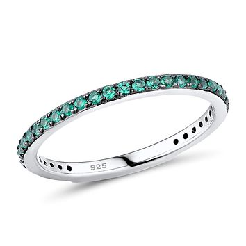 Natural Green Emerald Black Prong 3/4 Eternity Ring
