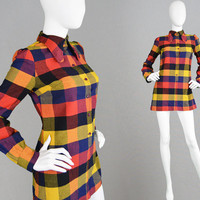 Vintage 60s 70s Mini Dress TOPSHOP Beagle Collar Mini Plaid Dress Orange Tartan Dress Short Mod Dress Scooter Girl Boho Long Round Collar