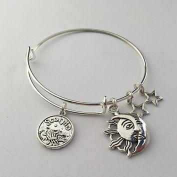 Scorpio charm bracelet, bangle, adjustable