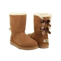 UGG Bow Leather Boots Half Boots Shoes