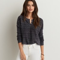 AEO RIBBED HENLEY SWEATER