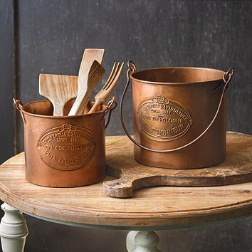 Set of Two Copper Buckets