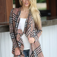 Taupe Plaid Cardigan