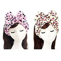 HappyDaily Lovely Supersoft Shower Hair Band - Ideal Hairlace Headband for Washing Face or Makeup (2, Pink leopard+Yellow leopard)