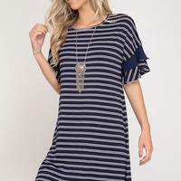 Sailor Stripes Shift Dress - Navy