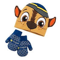 Paw Patrol Boys Winter Hat Mittens Beanie Knit Hats (2T-4T, Chase Face Navy Mittens)