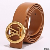 Louis Vuitton LV Newest Trending Girls Boys Circular Buckle Leather Belt Brown