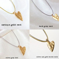 Satin 24k Gold Plated Sterling Silver Hammered Sideways Heart Necklace, Smooth Reverse, Unbreakable Cord, 14k Gold Filled Clasp, Simple Zen