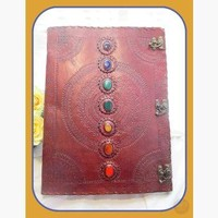 "7 Chakra Leather Journal with Latch - Huge 13 1/2"" x 18"""
