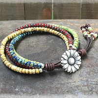 Boho Bracelet/ Beaded Wrap Bracelet/ Seed Bead Leather Wrap Bracelet/ Gift For Her/ Bohemian Wrap Bracelet/ Beaded Leather Wrap.