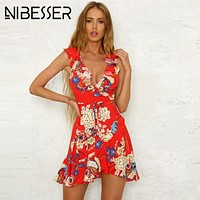 NIBESSER Summer Dress Women Sexy Beach Party Mini Sundress Floral Vintage Print Beach Dress Tunic Vestidos robe femme ete