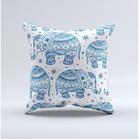 The Ethnic Navy Seamless Aztec Elephant ink-Fuzed Decorative Throw Pillow