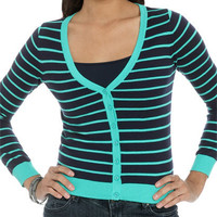 V-Neck Striped Cardigan   Shop Sweaters at Wet Seal
