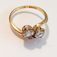 Victorian Diamond Ring, Toi et Moi Bypass, 1 Carat Combined, SALE