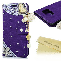 S7 Case,Galaxy S7 Case - Mavis's Diary 3D Handmade Wallet Case PU Leather with Bling Crystal Bright Diamond Pearls Glitter Wooden Love Heart with Tower Tassel Pendant for Samsung Galaxy S7 (Purple)