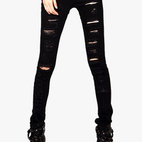 Black Cut-out Ripped Jeans