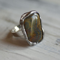 stone brown ring,  amazing  delicate ring, for her,   ,retro  , one of kind, unique handmade , lovely,  studioArtea