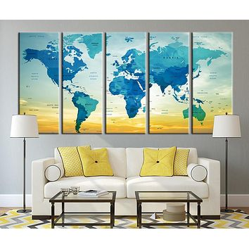 Typographyic World Map with Sundown Canvas Art Print Country Name World Map Art Print No:012