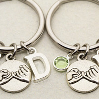 Two Best Friend Pinky Promise Keychains | Best Friend Gift | Birthstone Initial Keychain | Letter Charm | Gift for Best Friend | Pinky Swear